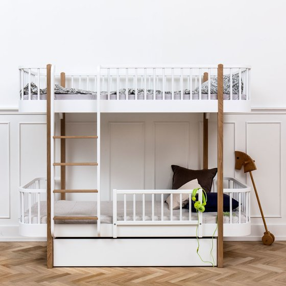 WOOD Bunk Bed with Ladder on front 90x200cm oak
