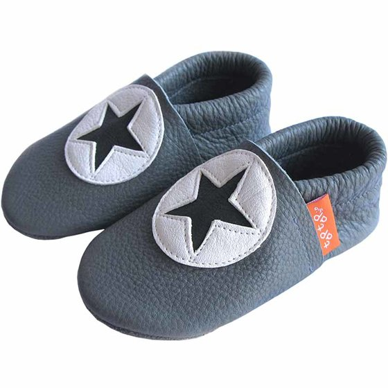 Leather Slippers star grey