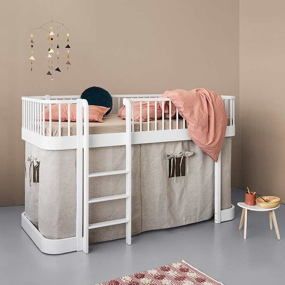 WOOD Low Loft Bed with ladder on front 90x200 cm white