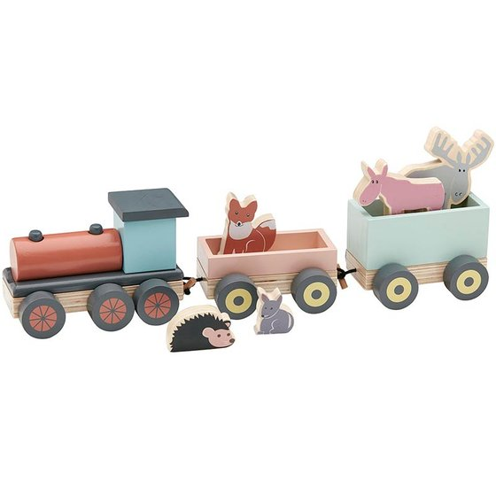 Wooden Train with Forest Friends