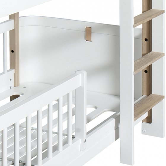 WOOD Mini+ Low Bunk Bed w/Ladder front 74x166x132cm