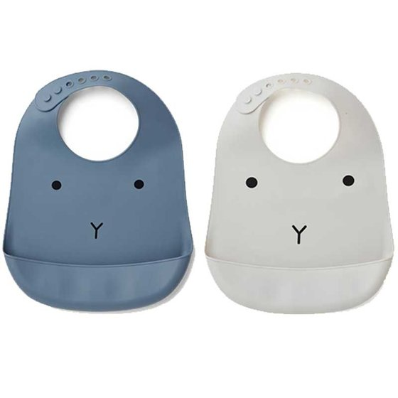 Silicone Bib Tilda 2 pack blue/grey