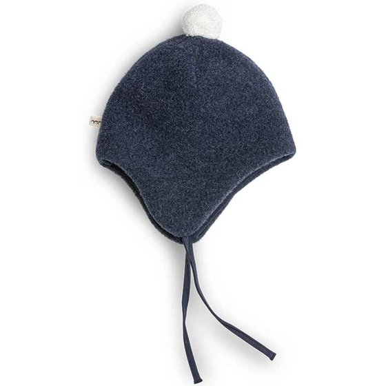 Bio Woolfleece Cap with pompom Frida night blue / creme